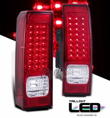 Headlights & Tail Lights - LED Tail Lights - OptionRacing - Hummer H3 Option Racing LED Taillights - Red Full LED Version - 75-21334