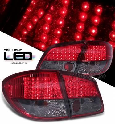 Headlights & Tail Lights - LED Tail Lights - OptionRacing - Infiniti I-30 Option Racing LED Taillights - Red & Smoke - LED - 75-23366
