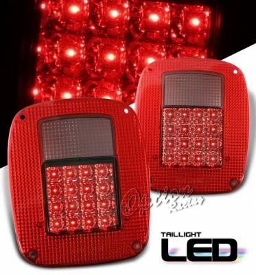 Headlights & Tail Lights - Tail Lights - OptionRacing - Jeep Wrangler Option Racing Taillights - Red & Smoke - 75-26370