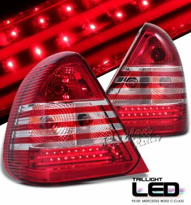 Headlights & Tail Lights - Led Tail Lights - OptionRacing - Mercedes-Benz C Class Option Racing LED Taillights - Red & Clear - LED - 75-32367
