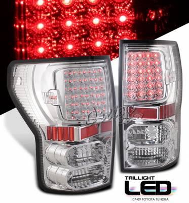 Headlights & Tail Lights - Led Tail Lights - OptionRacing - Toyota Tundra Option Racing LED Taillights - Chrome - 75-44329