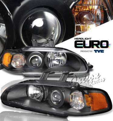 Headlights & Tail Lights - Headlights - OptionRacing - Honda Civic HB Option Racing Projector Headlights - Black - 1PC - 80-6165-45