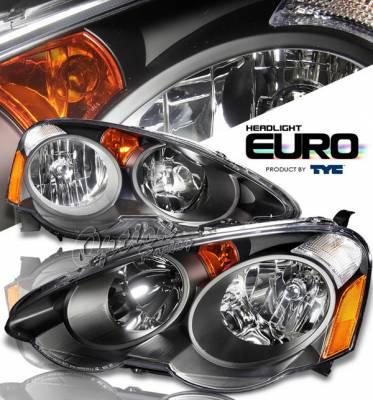 Headlights & Tail Lights - Headlights - OptionRacing - Acura RSX Option Racing Headlights - Black - 80-6277-45