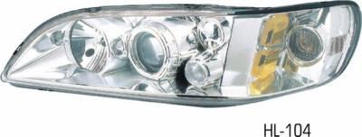 Headlights & Tail Lights - Headlights - Pilot - Honda Accord 2DR & 4DR Pilot Chrome Projector Headlight - Pair - HL-104
