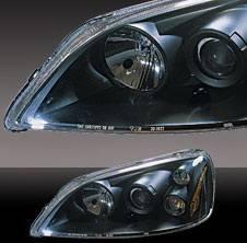 Headlights & Tail Lights - Headlights - Pilot - Honda Civic 2DR & 4DR Pilot Black Projector Headlight - Pair - HL-205BK