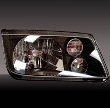 Headlights & Tail Lights - Headlights - Pilot - Volkswagen Jetta Pilot Black Headlight with Fog Light - Pair - HL-751BK
