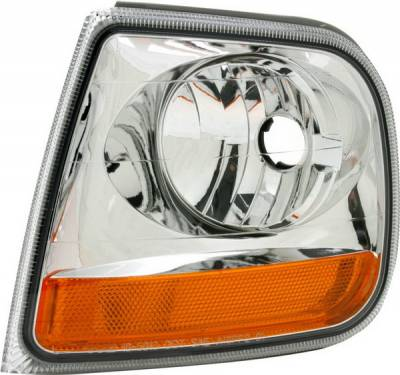 Headlights & Tail Lights - Corner Lights - Pilot - Ford F150 Pilot Chrome Turn Signal Light - Pair - ML-501