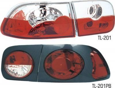 Headlights & Tail Lights - Tail Lights - Pilot - Honda Civic 2DR & 4DR Pilot Chrome Taillight - Pair - TL-201