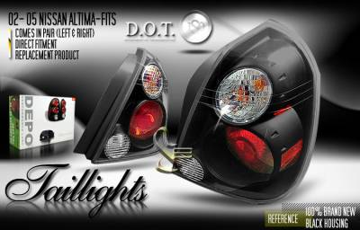 Headlights & Tail Lights - Tail Lights - Depo Lights - Black Euro Taillights