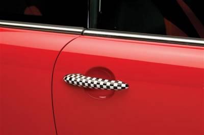 SUV Truck Accessories - Chrome Billet Door Handles - Putco - Mini Cooper Putco Door Handle Covers - Checkered Flag - 400527