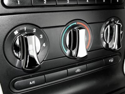 Car Interior - Dash Knobs - Action Artistry - Ford Mustang Action Artistry Chrome AC Knob Covers - 15501