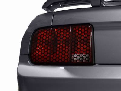Headlights & Tail Lights - Tail Light Covers - AM Custom - Ford Mustang Black Honeycomb Taillight Trim - 26063
