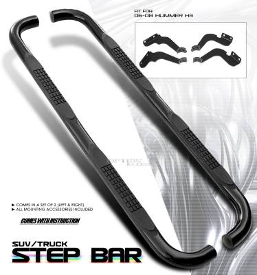 Suv Truck Accessories - Running Boards - OptionRacing - Hummer H3 Option Racing Side Step Bar - 30-21161
