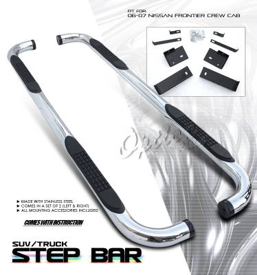 Suv Truck Accessories - Running Boards - OptionRacing - Nissan Frontier Option Racing Side Step Bar - 30-36173