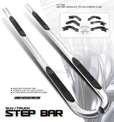 Suv Truck Accessories - Running Boards - OptionRacing - Nissan Titan Option Racing Side Step Bar - 30-36176