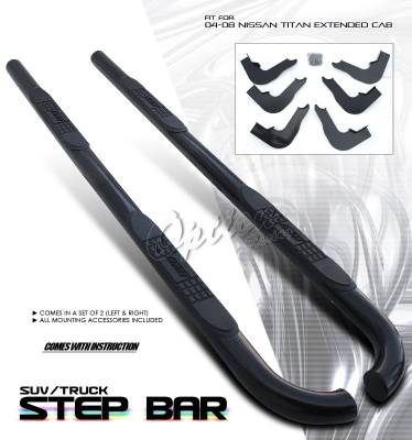 Suv Truck Accessories - Running Boards - OptionRacing - Nissan Titan Option Racing Side Step Bar - 30-36206