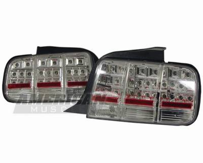 Headlights & Tail Lights - Led Tail Lights - AM Custom - Ford Mustang Chrome LED Taillights - 49029