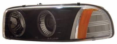 Headlights & Tail Lights - Headlights - Anzo - GMC Yukon Anzo Projector Headlights - with Halo Black - 111002