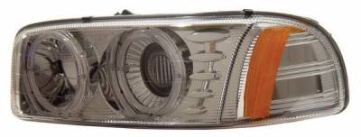 Headlights & Tail Lights - Headlights - Anzo - GMC Sierra Anzo Projector Headlights - with Halo Chrome - 111003