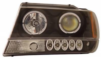 Headlights & Tail Lights - Headlights - Anzo - Jeep Grand Cherokee Anzo Projector Headlights - with Halo Black - 111043