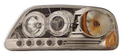 Headlights & Tail Lights - Headlights - Anzo - Ford F150 Anzo Projector Headlights - Chrome Clear with Halo - 1PC - 111054