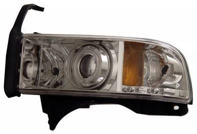 Headlights & Tail Lights - Headlights - Anzo - Dodge Ram Anzo Projector Headlights - with Halo - Chrome & Clear with Amber Reflectors - 111056