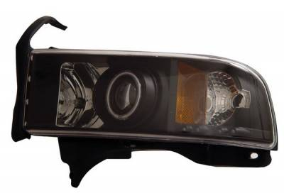 Headlights & Tail Lights - Headlights - Anzo - Dodge Ram Anzo Projector Headlights - with Halo - Black & Clear with Amber Reflectors - 111065