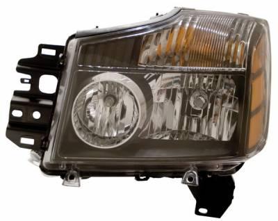 Headlights & Tail Lights - Headlights - Anzo - Nissan Armada Anzo Headlights - Black with Amber Reflectors - 111069