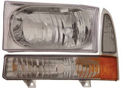 Headlights & Tail Lights - Headlights - Anzo - Ford Excursion Anzo Headlights - Chrome with Corner Amber - 111081