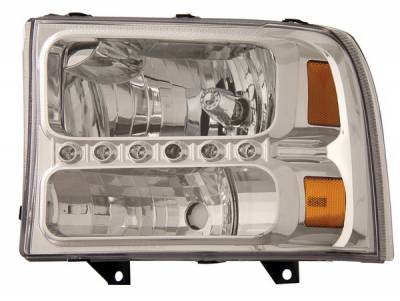 Headlights & Tail Lights - Headlights - Anzo - Ford Superduty Anzo Headlights - Crystal Clear with LED Strip - 1PC - 111088