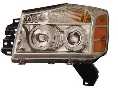 Headlights & Tail Lights - Headlights - Anzo - Nissan Titan Anzo Headlights - Crystal & Chrome - CCFL - 111094