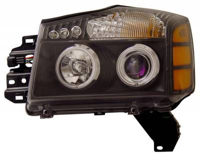 Headlights & Tail Lights - Headlights - Anzo - Nissan Titan Anzo Headlights - Crystal & Black - CCFL - 111095