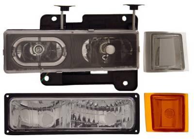 Headlights & Tail Lights - Headlights - Anzo - Chevrolet CK Truck Anzo Headlights - Crystal & Black - 111100
