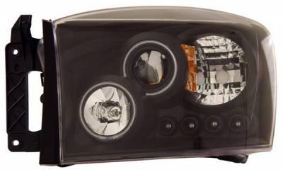 Headlights & Tail Lights - Headlights - Anzo - Dodge Ram Anzo Projector Headlights - Halo Black & Clear & Amber- CCFL - 111104