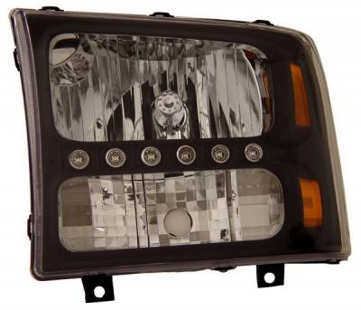 Headlights & Tail Lights - Headlights - Anzo - Ford Excursion Anzo Headlights - Black & Amber - 1PC - 111106