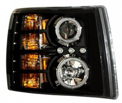 Headlights & Tail Lights - Headlights - Anzo - Chevrolet Silverado Anzo Projector Headlights - Black & Clear with Halos - 111107