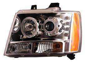 Headlights & Tail Lights - Headlights - Anzo - Chevrolet Avalanche Anzo Projector Headlights - Chrome & Clear with Halos - 111108