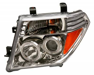 Headlights & Tail Lights - Headlights - Anzo - Nissan Frontier Anzo Projector Headlights - Chrome & Clear with Halos - 111112