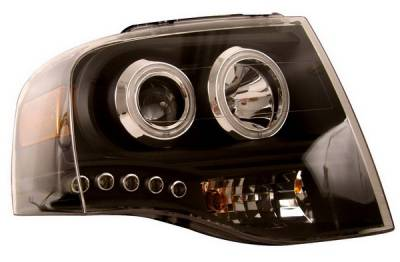 Headlights & Tail Lights - Headlights - Anzo - Ford Expedition Anzo Projector Headlights - Black & Clear with Amber - 111113