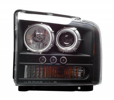 Headlights & Tail Lights - Headlights - Anzo - Ford Superduty Anzo Projector Headlights - Black with Halos - CCFL - 111117