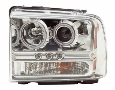 Headlights & Tail Lights - Headlights - Anzo - Ford Superduty Anzo Projector Headlights - Chrome with Halos - 1PC - 111118