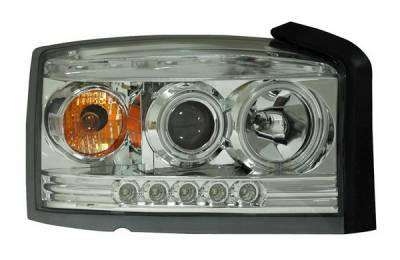 Headlights & Tail Lights - Headlights - Anzo - Dodge Dakota Anzo Projector Headlights - Chrome & Clear with Halos - 111123