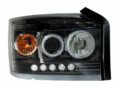 Headlights & Tail Lights - Headlights - Anzo - Dodge Dakota Anzo Projector Headlights - Black & Clear with Halos - 111124