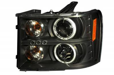 Headlights & Tail Lights - Headlights - Anzo - GMC Sierra Anzo Projector Headlights - Black & Clear with Halos - 111125