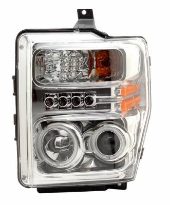 Headlights & Tail Lights - Headlights - Anzo - Ford Superduty Anzo Projector Headlights - Chrome with Halos - CCFL - 111129