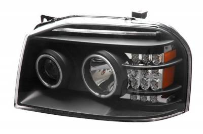 Headlights & Tail Lights - Headlights - Anzo - Nissan Pathfinder Anzo Projector Headlights - Black - 111134