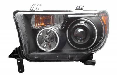 Headlights & Tail Lights - Headlights - Anzo - Toyota Sequoia Anzo Projector Headlights - Black with Halos - CCFL - 111135