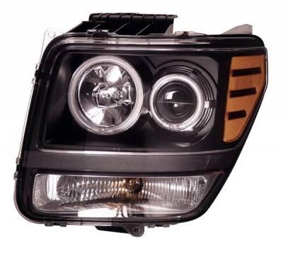 Headlights & Tail Lights - Headlights - Anzo - Dodge Nitro Anzo Projector Headlights - Halo Black & Clear & Amber- CCFL - 111140