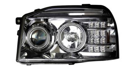 Headlights & Tail Lights - Headlights - Anzo - Nissan Frontier Anzo Projector Headlights - Halo Chrome & Clear Amber- CCFL - 111141