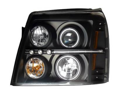 Headlights & Tail Lights - Headlights - Anzo - Cadillac Escalade Anzo Projector Headlights - Halo Black & Clear & Amber- CCFL - 111142